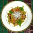 ブロッコリーの茎とセルリのベーコン炒め